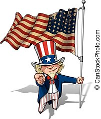 Uncle Sam I Want You - US WWI-WWII 48 Star Flag - Vector...