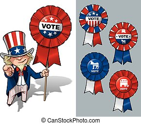 Uncle Sam I Want You to Vote - Vector Cartoon Illustration...
