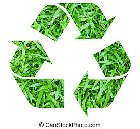 Recycle symbol with grass texture