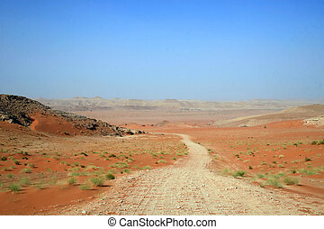 Road through red sands desert in Saudi Arabia