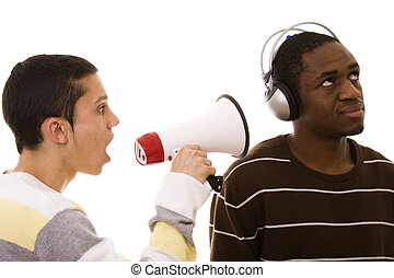 Racism - caucasian young man shouting to a african young man