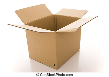 cardboard box - opened cardboard box parcel (isolated on...