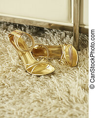 Golden High-Heeled Shoes