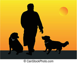 Man walking his dogs illustration - Man and his dogs, out...