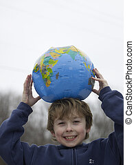 Boy With Globe On Top Of Head