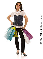 woman happyness after shopping - happy beautiful woman with...