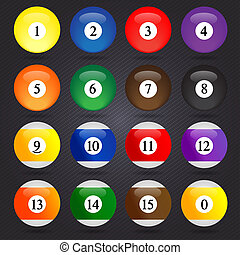 Colored Pool Balls. Numbers 1 to 15