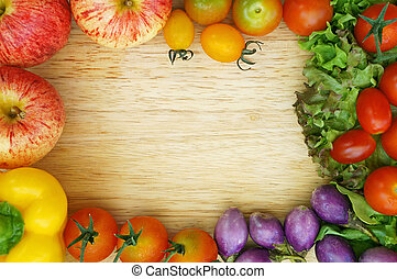Healthy Organic Vegetables on a Wooden Background Frame...