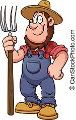 Cartoon farmer Vector clip art illustration with simple...
