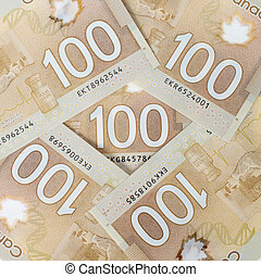 Canadian money, polymer version forming a nice background