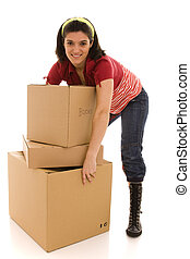 packages for house moving - woman with packages for house...