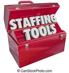 Dotación de personal, herramientas, palabras, rojo,...