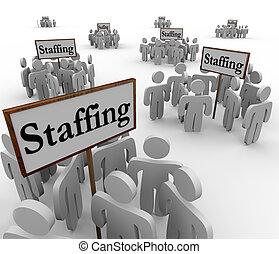 Dotación de personal, señales, grupos,...