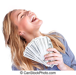 Happy owner of money, pretty woman with money isolated on...