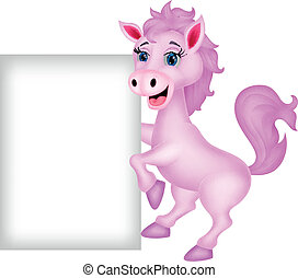 Cute horse with blank sign - vector illustration of Cute...