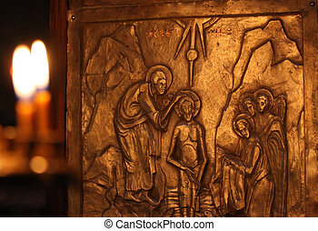 Baptism by Saint John - Carving on cross in Nekresi church...