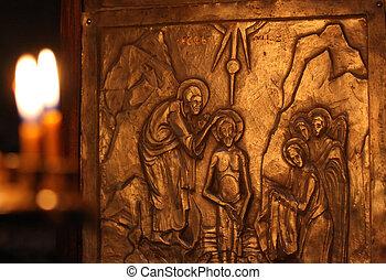 Baptism by Saint John - Carving on cross in Nekresi church...