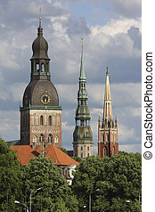 Three towers of Riga - Three towers of old Riga, capital of...