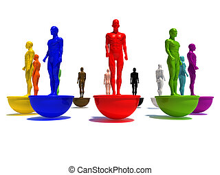 different world - 3d illustration of blue 3d model standing...