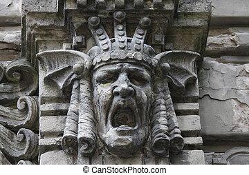 Jugendstil in Riga - Face sculpture detail on famous...