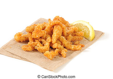 Breaded clam strips - Breaded deep fried strips of clams on...