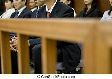 gente, Sentado, tribunal, galería