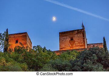 Alhambra Towers Moon Flags Albaicin Granada Andalusia Spain...
