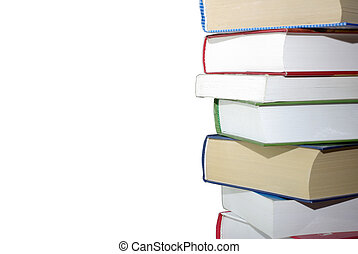 Stack of different books isolated on white background. Clipping path.