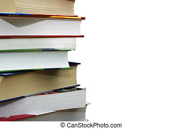 Stack of different books isolated on the wgite background. Clipping path.