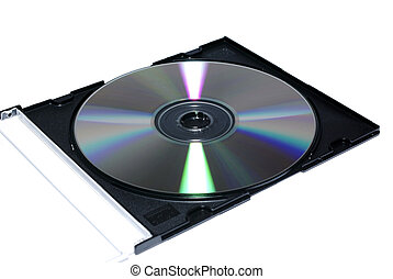 Opened jewel case with recordable disc. Isolate on white.