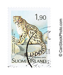 Snow leopard - Collectible old stamp from Finland Stamp with...