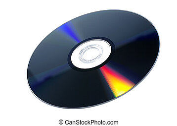 DVD-RW multimedia disc isolated on white background.