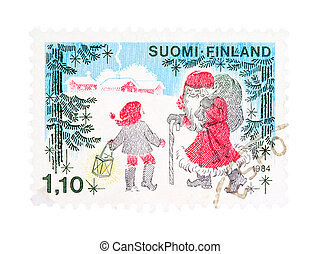 Christmas in Finland - Collectible old stamp from Finland...