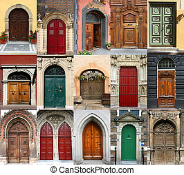 Doors collection - Colorful composition made of door -...
