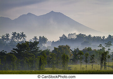 View on Rinjani volcano in Lombok island, Indonesia