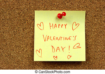 Valentines wishes - Yellow small sticky note on an office...
