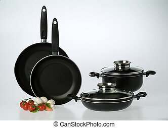 Pans set isolated on a gray background