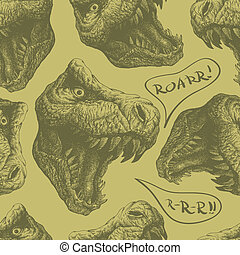 seamless doodle dinosaur pattern eps8 - seamless doodle...