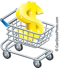 Dollar currency cart concept - Dollar currency trolley...