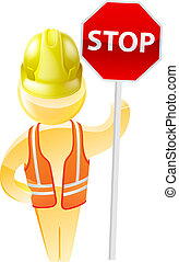 Stop sign construction man with hard hat and hi vis jacket