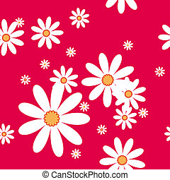 vector seamless pattern with camomiles on red background