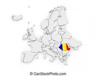 Map of Europe and Romania. 3d