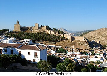 Town and castle, Antequera - Castle fortress with townhouses...