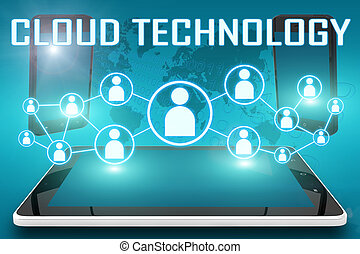Cloud Technology - text illustration with social icons and...