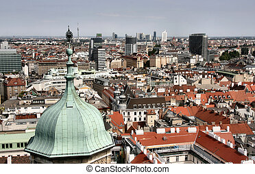Vienna aerial view - old town down there and financial...