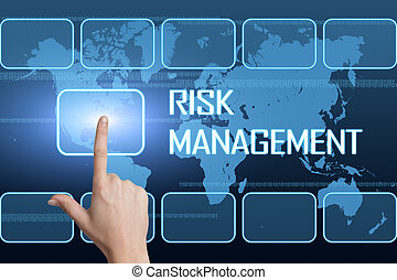 Risk Management concept with interface and world map on blue...
