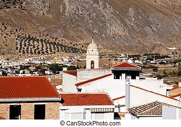 White town, Loca, Andalusia. - View of the town, Loca,...