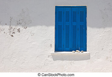 blue balconies - Blue balconies closed under the hot sun of...