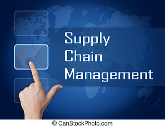 Supply Chain Management concept with interface and world map...