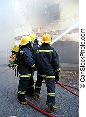 bombeiros, luta, fogo